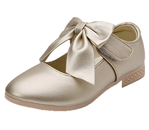 Kikiz Girls Leather Dress Ballet Mary Jane Bow Slip On Flat Shoes (Toddler/Little (Girls Leather Ballet Flats)