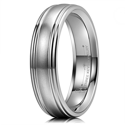 (THREE KEYS JEWELRY 6mm Titanium Wedding Ring Brushed Domed Center Polished Grooved Edge Wedding Band Size)