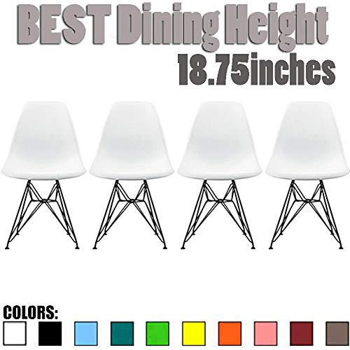 (2xhome Set of 4 White Mid Century Modern Design Industrial Plastic Chair Side No Arms Dark Black Wire Chrome Base with Back Eiffel Molded Shell Dining Chairs Living Room Accent)