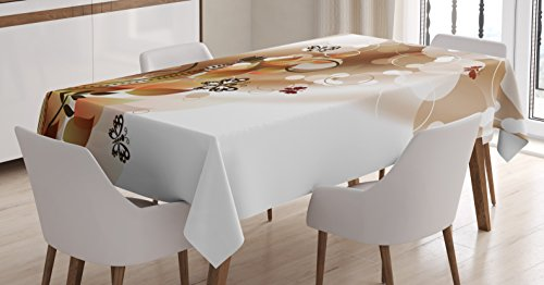 Tan Tablecloth by Ambesonne, Spring Themed Abstraction Cute Butterflies Flower Petals and Tulip Leaves, Dining Room Kitchen Rectangular Table Cover, 60W X 84L Inches, Dark Brown Brown White Rectangle Butterfly Leaf Table