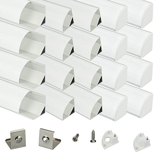 Muzata Aluminum Channel For Led Strip Light With Milky White Curved Diffuser Cover, End Caps, and Mounting Clips. Right Angle Aluminum Profile with Video Guide, V-Shape, 20-Pack 3.3ft/1M V1SW