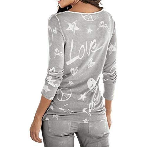 Shirts Semplice Libero Magliette Tops Camicetta Manica Maniche Fashion Autunno Stampato Glamorous Eleganti Modello Tempo A Invernali Collo Donna Di Base Grau Lunga Blusa Lunghe Cuore Rotondo Camicia gpAqa
