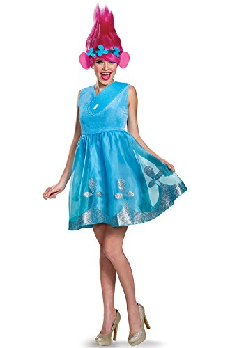 Disguise Poppy Deluxe Adult Costume, Blue, Small (4-6)]()