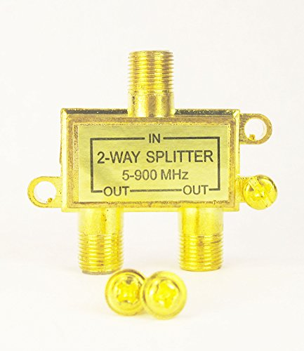 (New Coaxial Coax Cable 2 Way Splitter RG59 F TV 75-Ohm UHF/VHF/FM)