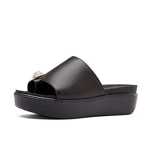 Flat Slippers with Summer Black Slippers Bottomed 8qPEABw