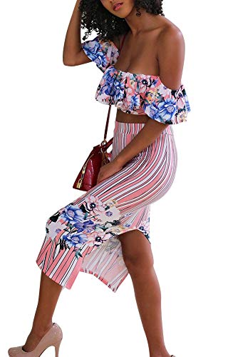 Women Two Piece Outfit Floral Dress Suit Off Shoulder Ruffled Crop Top Skirt Set Party Clubwear XL