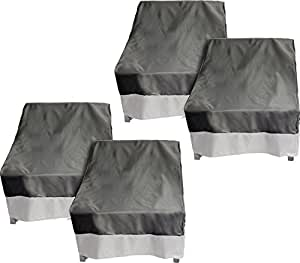 4 Pack Deep Chair Patio Cover - Outdoor Furniture Set Cover (Dark Grey w/ Grey Trim)