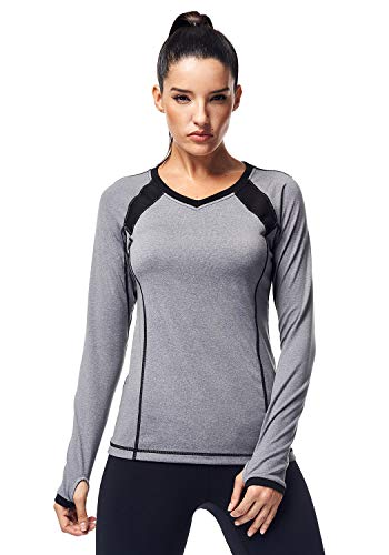 Matymats Women's Workout Tee Tops Long Sleeve Yoga Running Gym Sports T-Shirt Fast Dry (XX-Large (Tag Size 12), Light Grey)