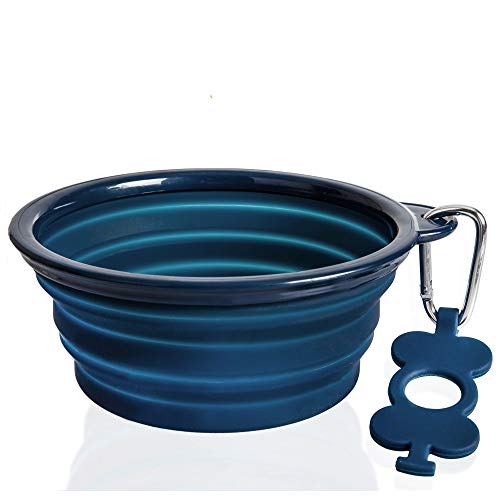 - Bonza Collapsible Dog Bowl, Portable Dog Water Bowl is 7 Cup Capacity for Large Breed Dogs, Lightweight, Sturdy, Leak Proof, Food Safe, Premium Quality Travel Pet Bowl Solution (Large, Navy Blue)