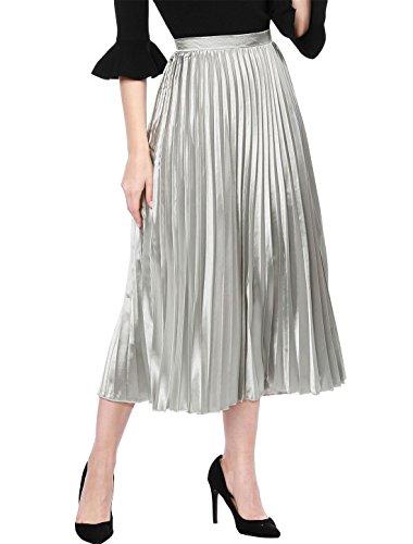 Allegra K Women's Accordion Pleated Metallic Midi Skirt L Silver ()