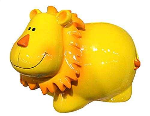 KINGMAX Yellow Lion Coin Piggy Bank Resin 79219 7.5 Inches ()