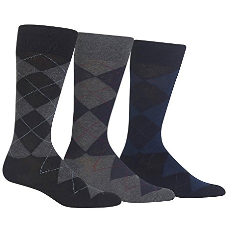 Polo Ralph Lauren - Classic Argyle Dress Socks - Pack of 3 Pairs, One Size, Charcoal (Polo Ralph Lauren Moisture)