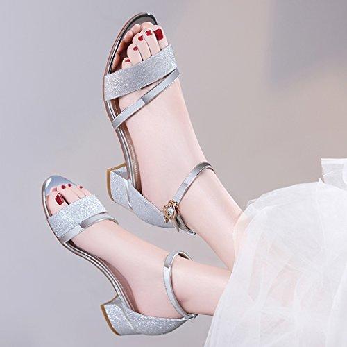Supérieure Talon Hauts Mi Talons Talons Épais Vamp Chaussures Ouvert Wrap Sandales À Pu Femme Bout Été Talons D'argent EZqYxx6Tw