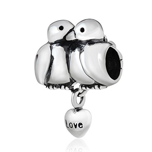 Love Birds Charm 925 Sterling Silver Animal Charm Husband Wife Couple Charm for Bracelets (A)