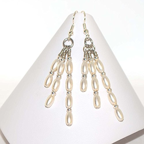 Ivory Simulated Pearls Drop Dangling Earrings Silver-plated ()