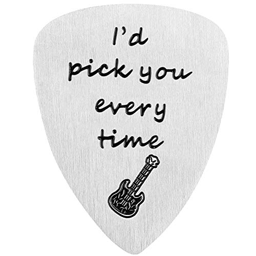 Guitar Pick, I Pick You Every Time, Anniversary Gift for Musician Guitar Player Valentines Gifts