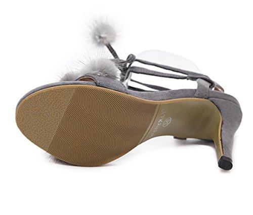 YCMDM Donna Sandali Puffer Ball Open Toe Hollow Piattaforma pendenza fiorita con tacchi alti aperti , grey , 34