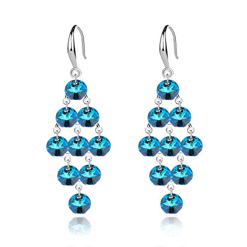 EVEVIC 925 Sterling Silver Swarovski Crystal Tassels Earrings for Women Girls Dangle Hook Earrings ()