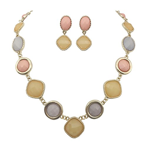Multi Shapes Gold Tone Boutique Statement Necklace Earrings Set - Assorted colors (Peach Pink & (Sweet Peach Costumes)