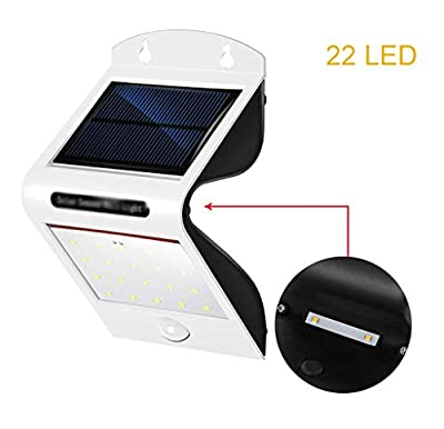 Carl Artbay Solar Powered Motion Sensor Security Light, 22 LED White Flood Lights Outdoor Waterproof Garden Wall Light with Motion Activated ON/Off for Patio Deck Garage Porch