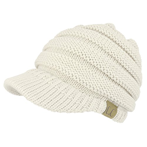 Trendy Apparel Shop Women's Ribbed Knit Winter Ponytail Visor Beanie Cap - Ivory (Ribbed Beanie White)