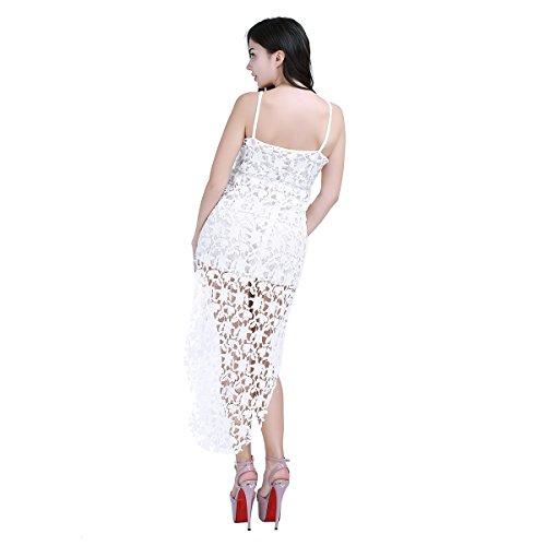 iEFiEL Vestido Blanco de Encaje Floreado Boda Cóctel para Mujer Cintura Elástica Vestido de Cola Espalda al Aire Escote V