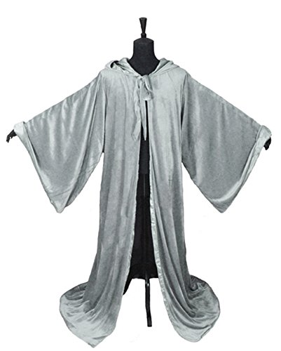 Robe With Grey Hood Costumes (LuckyMjmy Velvet Wizard Robe with Satin Lined Hood and Sleeves (Grey))