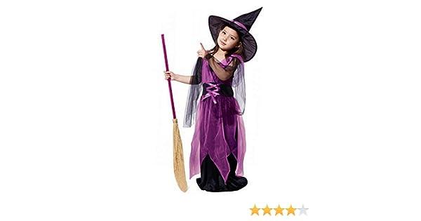 POLP Niño-Halloween Disfraces de Disfraces de Halloween para niños Halloween Disfraz niña Disfraz Halloween Bebe Bruja Criatura Nocturna Escoba de ...