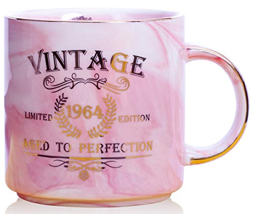 1964 55th Birthday Gifts for Women and Men Ceramic Mug - Funny Vintage 1964 Aged To Perfection - Anniversary Gift Idea for Him, Her, Mom, Dad Husband or Wife - Ceramic Marble Cups 13 oz (Pink) ()