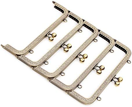 Prosperveil 5PCS Metal Purse Bag Frame Kiss Clasp Lock Rectangle DIY Clutch Bag Handbag Coin Purse Making Frames Clasps 10.5 cm