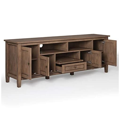 Farmhouse Living Room Furniture SIMPLIHOME Warm Shaker SOLID WOOD Universal TV Media Stand, 72 inch Wide, Farmhouse Rustic, Storage Shelves and Cabinets… farmhouse tv stands
