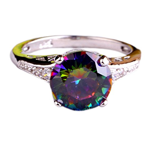 Psiroy Women's Gorgeous 10mm*10mm Round Cut Rainbow CZ 925 Sterling Silver Filled Ring