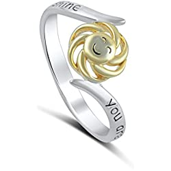 Sterling Silver Two Tone You Are My Sunshine My Only Sunshine Ring (5)