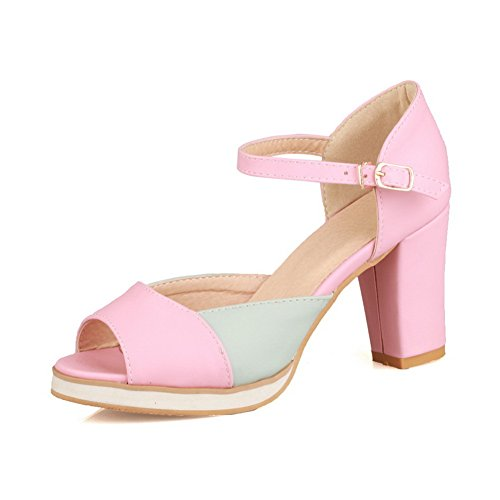 VogueZone009 Womens Open Peep Toes High Heel Chunky Soft Material PU Sandals with Assorted Colors Pink 1afnjcZJo