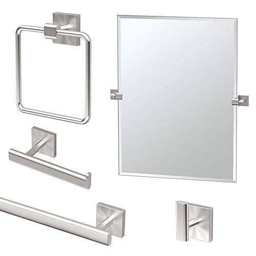 Gatco KA-ELE-5-SN Elevate Bathroom Accessory Kit with Mirror Satin Nickel
