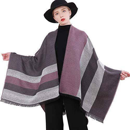 RIIQIICHY Women Winter Warm Cardigan Poncho Cape Blanket Oversized Sweater Coat Cardigan Shawl Wrap Pashmina
