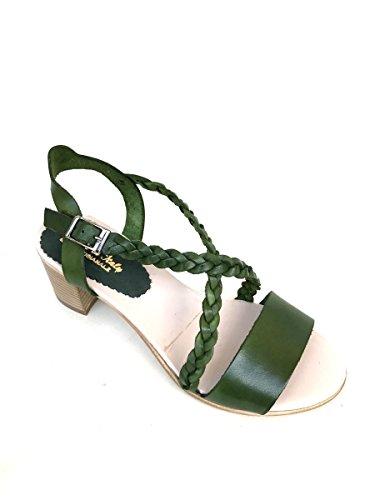ZETA SHOES - Sandalias de vestir de Piel para mujer Verde