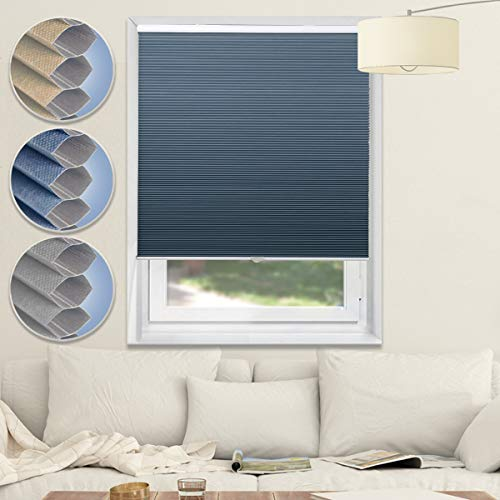 Cordless Shades Blackout Blinds Cellular Window Shades Honeycomb Blinds for Bedroom Kitchen Bathroom, Blue-White, 29×64
