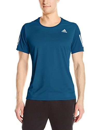 adidas Mens Running Response Short Sleeve Tee, Blue Night, Medium