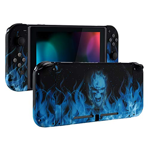 eXtremeRate Soft Touch Grip Back Plate for Nintendo Switch Console, NS Joycon Handheld Controller Housing with Full Set Buttons, DIY Replacement Shell for Nintendo Switch - Blue Flame Skull