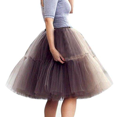 MuSheng(TM Femmes Haute Qualit Plisse Gaze Drape Jupe Adulte Tutu Danse Jupe Gris