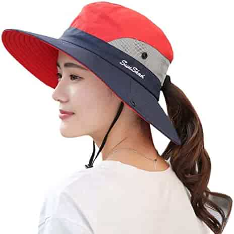 f8632af0d81 BBNVIGOR Foldable Mesh Women Outdoor Wide Brim Bucket Hat Beach Fishing Hat