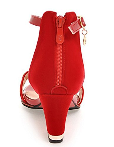 IDIFU Shoes Block With Heels Up Red Dressy Strap Mid Ankle Sandals Women Back Zip 6aqr6Uw