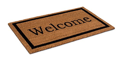 (BIRDROCK HOME Welcome Coir Doormat | 18 x 30 Inch | Standard Welcome Mat with Black Border and Natural Fade | Vinyl Backed | Outdoor )