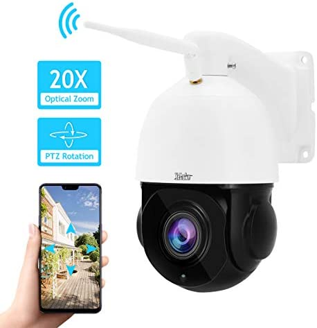 PTZ WiFi Camera Outdoor 20X Optical Zoom 1080P High Speed IP Camera Built-in SD Card Slot with Clear Night Vision for Security Surveillance