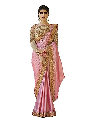 gner New Ethnic Indian Women's Handwork Saree With Blouse Piece Partywear Sari for Women (Baby Pink) ()