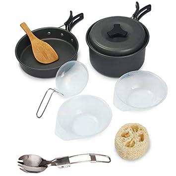 fontic 9 Set – Set de cocina exterior Cocina camping ollas de cacerolas y sartenes (