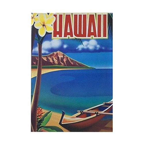 """CafePress Vibrant Blue Vintage Hawaii Rectangle Magnet, 2""""x3"""" Refrigerator Magnet"""