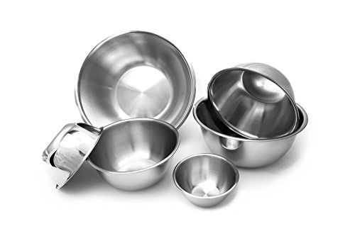 - The Culinary Junction 9862 6-Piece Nesting Stainless Steel Polished Mirror Finish Mixing Bowls Set, .5, 1.25, 2.75, 4.25, 6.25 and 10.75 Quart