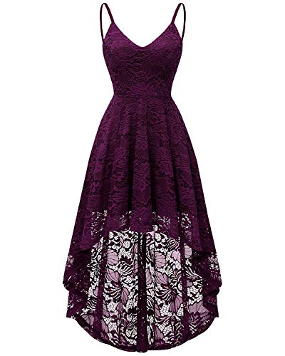 Bridesmay Women's V-Neck Adjustable Spaghetti Straps High Low Cocktail Bridesmaid Lace Dress Grape ()